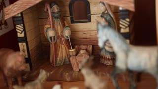 A hand carved Nativity creche