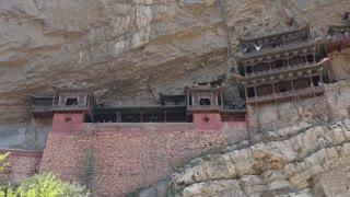 a hanging temple monastery at datong china