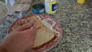a man making a tuna fish sandwich