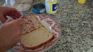 a man making tuna fish sandwich