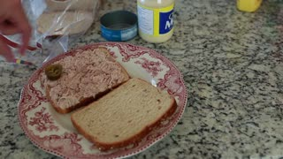 a man prepares tuna fish sandwich timelapse
