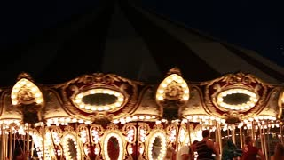 a merry go round at night time