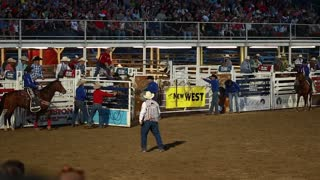 a saddle bronc ride at rodeo slow motion