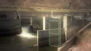 A small dam on a mountain river to divert the water
