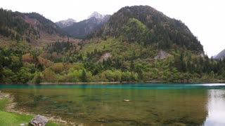 a spectacular blue water lake at jiuzhaigou valley national park in china