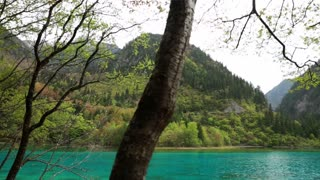 A spectacular blue water lake in jiuzhaigou Valley national park in China dolly