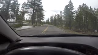 A timelapse family driving through Bryce Canyon National Park