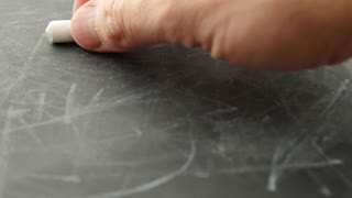 A timelapse of writing letters on a chalkboard