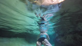 A Woman Swimming In An Underground Cave Cenote In Mexico