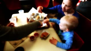 a young family at fast food place