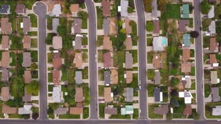 Aerial high shot of a cities suburbs
