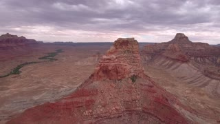 Aerial high shot of the amazing desert buttes in Utah
