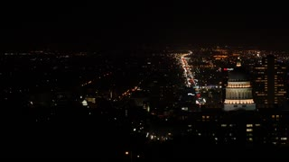 Aerial panning shot at downtown Salt Lake City Utah at night