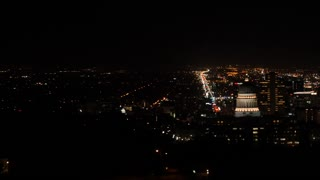 Aerial shot at downtown Salt Lake City Utah at night