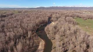 Aerial shot of beautiful river and nature preserve