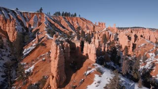 Aerial Shot Of Bryce Canyon National Park In Winter With Snow
