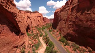 Aerial shot of road in beautiful desert burr trail canyon