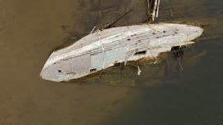 Aerial shot of the sunken fishing boat at Cape Breton Island