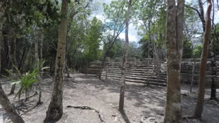 Amazing Mayan ruin in Coba near Tulum Mexico panning shot