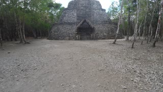 Amazing Mayan ruin in Coba near Tulum Mexico tilting shot