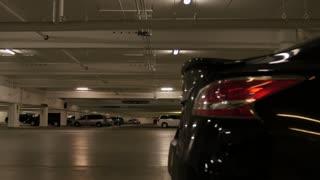 An empty underground parking garage
