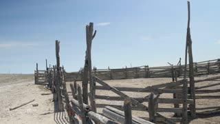 An old wooden corral in the desert of Utah