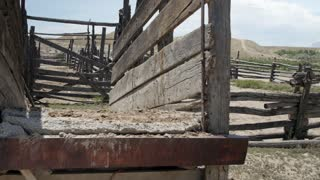 An old wooden corral in the desert