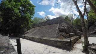 Ancient ball court at Mayan ruin at Coba near Cancun
