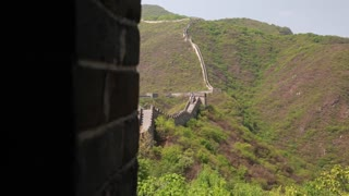 ancient great wall of china beijing mutianyu with tourists