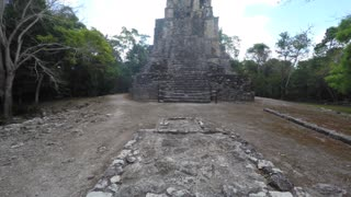 Ancient stone Mayan ruins at Coba near Cancun