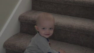 baby boy playing with a bird on stairs