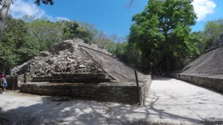Ball court in ancient Mayan ruins at Coba