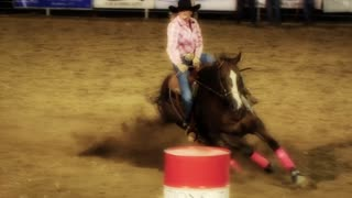 Barrel Racing Cowgirl Slow Motion