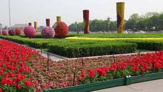 beautiful gardens at tiananmen square beijing china