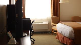 Beautiful interior dolly shot of hotel room