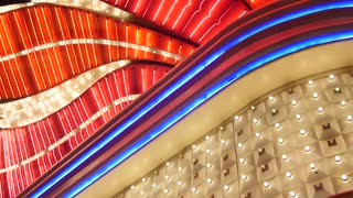 Big bright lights outside las vegas casino static shot