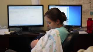 Breastfeeding baby at work