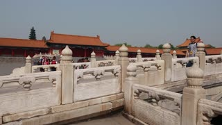 bridge inside the forbidden city palace in beijing china