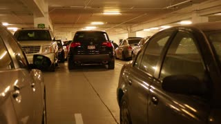 Car backing up in underground parking