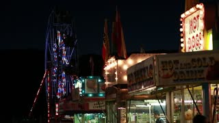 carnival ferris wheel at night