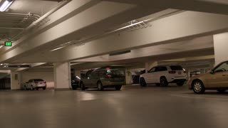 Cars in underground parking garage