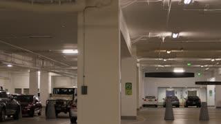 Cars parked in underground parking garage