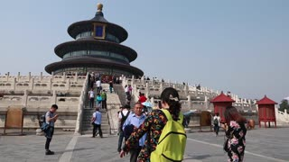 chinese in temple of heaven in the beijing china