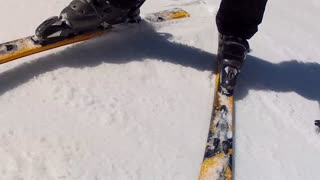 close up of downhill skis on mountain