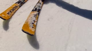 close up of skis on mountainside