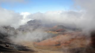 Cloudy volcano crater