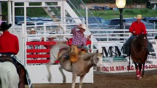 Cowboy is bucked off in rodeo