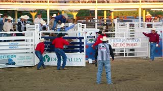 Cowboy riding a crazy horse in a rodeo