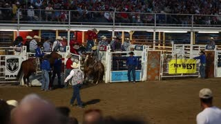 cowboy saddle bronc ride at rodeo slow motion