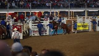 cowboy saddle bronc ride in rodeo slow motion